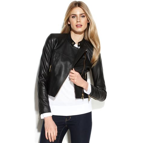 motocross leather jacket lyst michael kors michael cropped leather moto jacket in