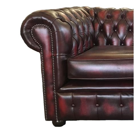 antique red leather sofa chesterfield oxblood red real leather 2 seater sofa bed