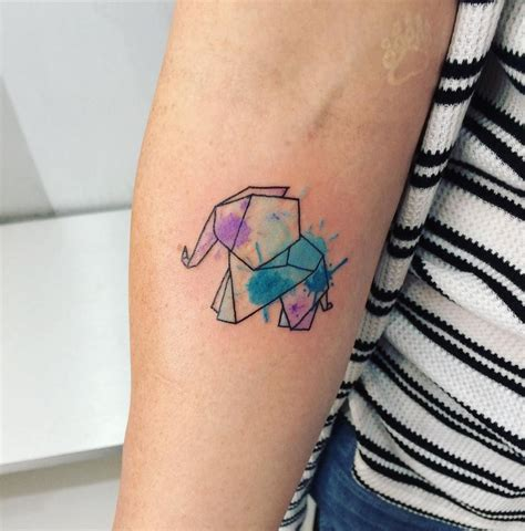 ana tattoo origami elephant watercolor by maturana