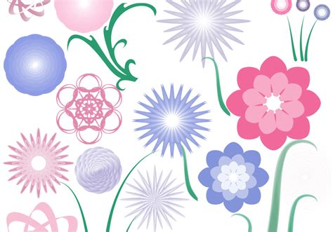 flower brush 20 flower radials plus 4 stems free photoshop brushes at