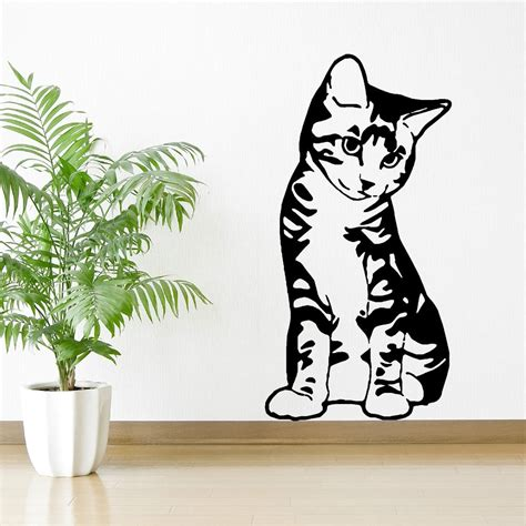 cat wall sticker kitten cat feline pet seated sitting vinyl wall