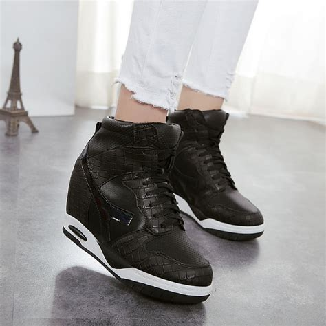 Sepatu High Heels Fashion Korea 690 sepatu boots wedges korean style korean style sport lace up solid toe wedge sneaker