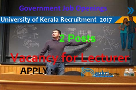 Mba Lecturer Vacancy In Kochi by Lecturer Recruitment 2017 In Of Kerala