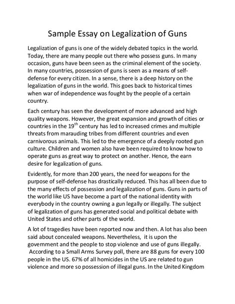 Argument For Gun Essay by Sle Essay On Legalization Of Guns