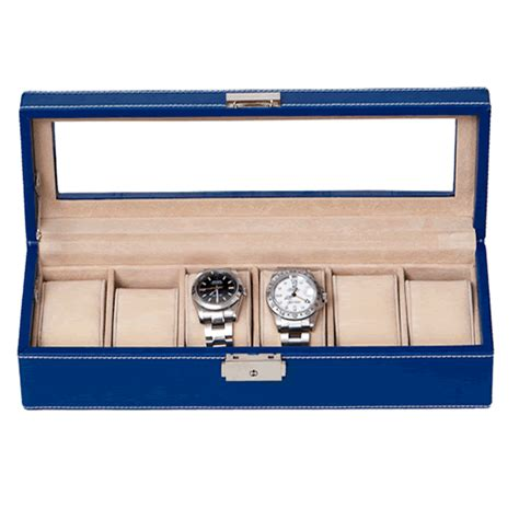 Decorative Display Cases by Blue Pu Leather Six Display With Decorative