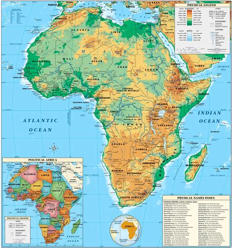 physical map africa physical map size