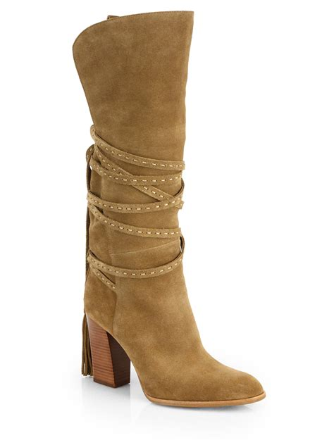michael kors jessa suede knee high boots in brown lyst