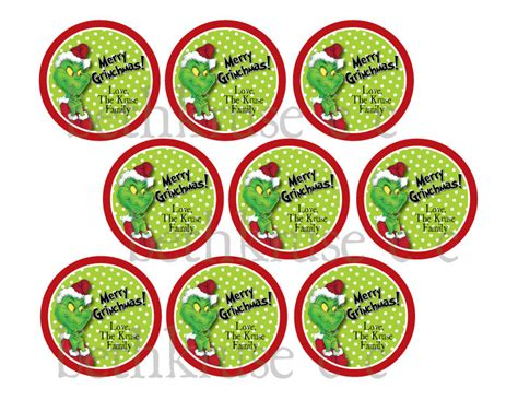 printable grinch stickers printable grinch party 18 00 via etsy favor tags
