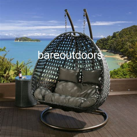 double seater hanging pod chair black  grey cushions