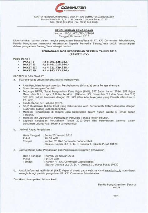 Alat Tulis Kantor Tahun 2015 pengumuman pengadaan jasa kebersihan stasiun tahun 2016 krl