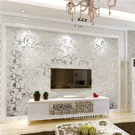 home interior wallpaper wall paper design home decor 3d wallpapers silver metallic