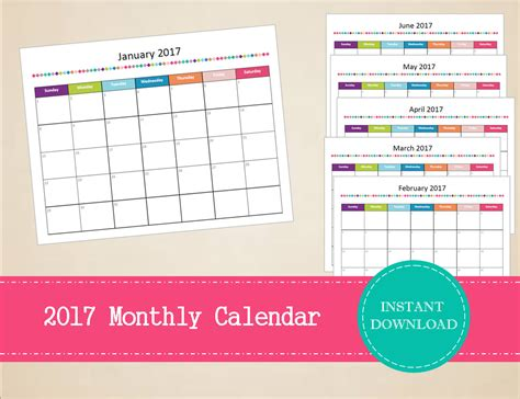 printable monthly planner 2017 pdf printable 2017 monthly calendar editable 2017 calendar