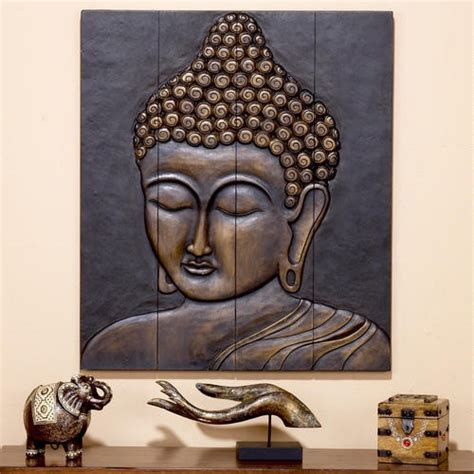 buddhist decor wood buddha face wall hanging
