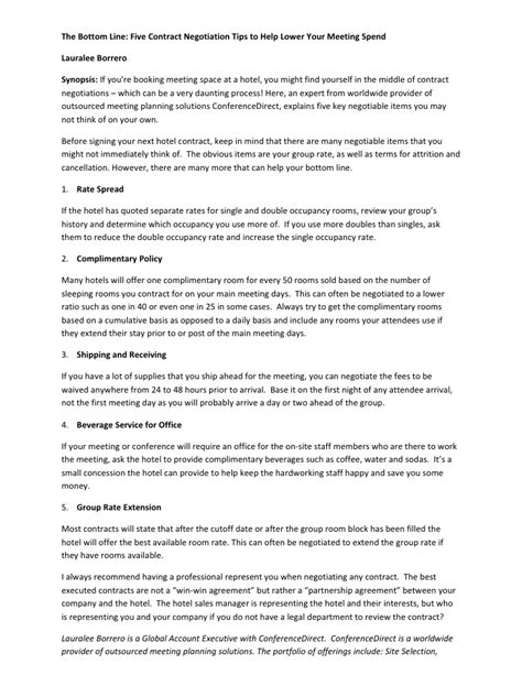 hotel contract template contract negotiation tips