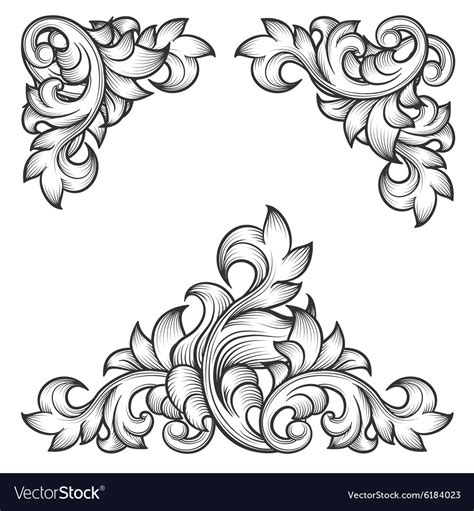 decorative baroque design elements vector baroque leaf frame swirl decorative design element