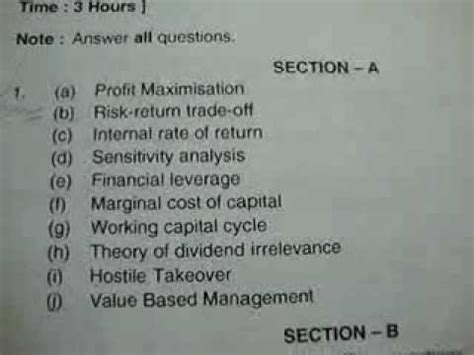 Ou Mba Self Finance by Ou Mba 2nd Semester Financial Management July 2011