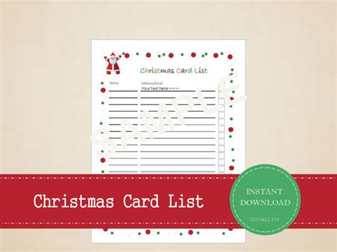 printable christmas cards pdf 27 christmas gift list templates free printable word