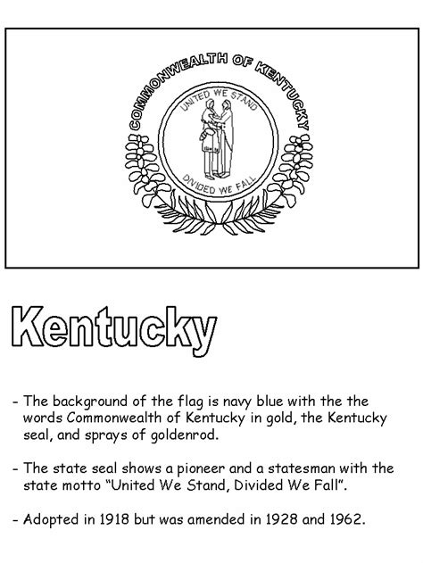 Kentucky State Flag Kentucky State Flag Coloring Page