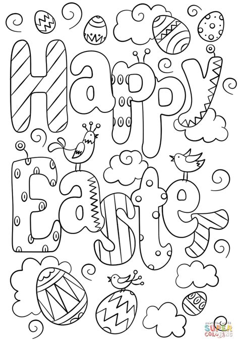 happy easter doodle coloring page  printable