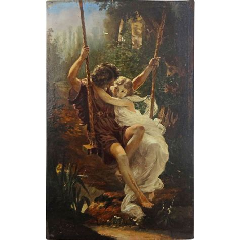 young couple swinging painted print young couple on swing after auguste cot s