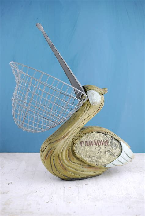 Pelican with Wire Basket Beak 14in
