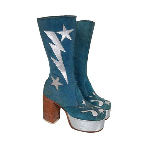 Trend Platform Shoes Bglam by 1970 S Turquoise Blue Suede And Silver Leather Novelty