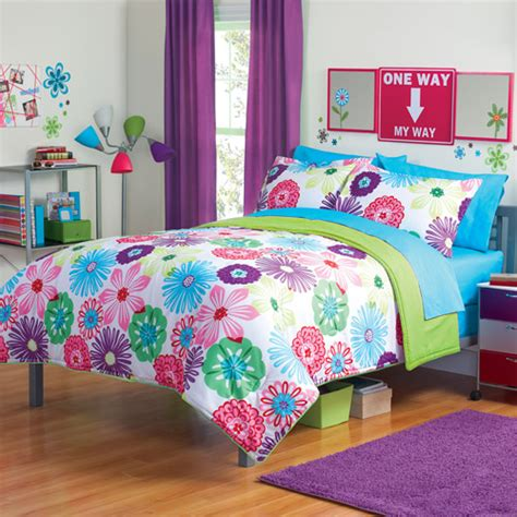 walmart comforters for girls your zone reversible floral bedding comforter set