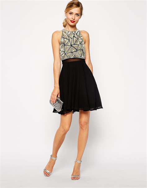 Mayo Textured Dress 1 lyst asos all embellished crop top skater dress in