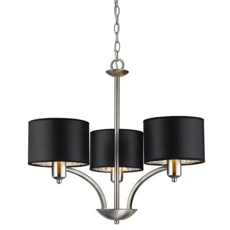 Dining Room Chandeliers Home Depot Hton Bay Sheldon Murray 3light 72 Chandelier Brushed Nickel Black Shades Ebay
