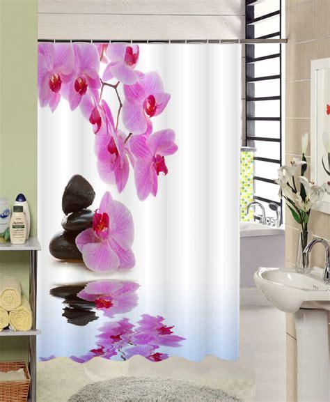 reflections floral fabric shower curtain reflection purple flower blackstone bathroom waterproof