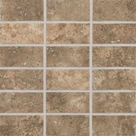 daltile san michele moka cross cut 12 in x 12 in x 8 mm glazed porcelain mosaic floor and wall