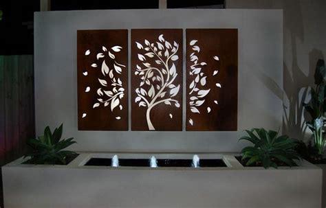 art design genetic screens 3 piece laser cut steel garden screen tree and leaf design