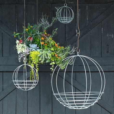 zinc sphere hanging basket terrain