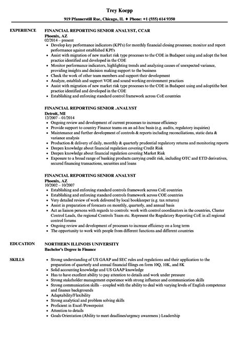 Financial Reporting Resume Template Financial Reporting Senior Analyst Resume Sles Velvet