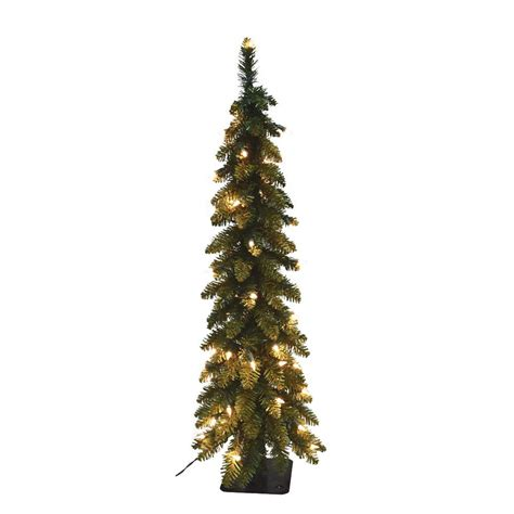 5 ft pre lit pencil slim artificial christmas tree with