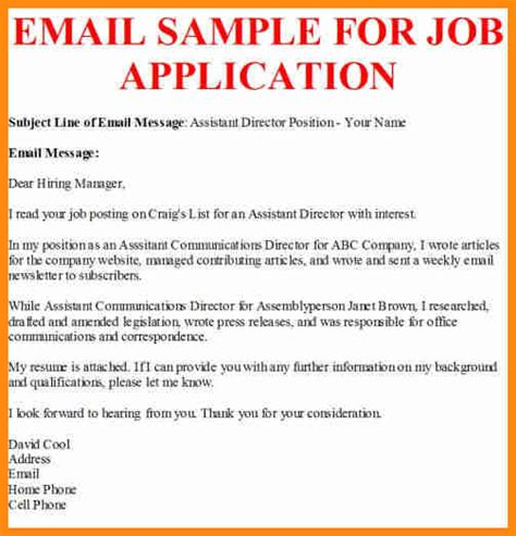 6 job application email format model resumed