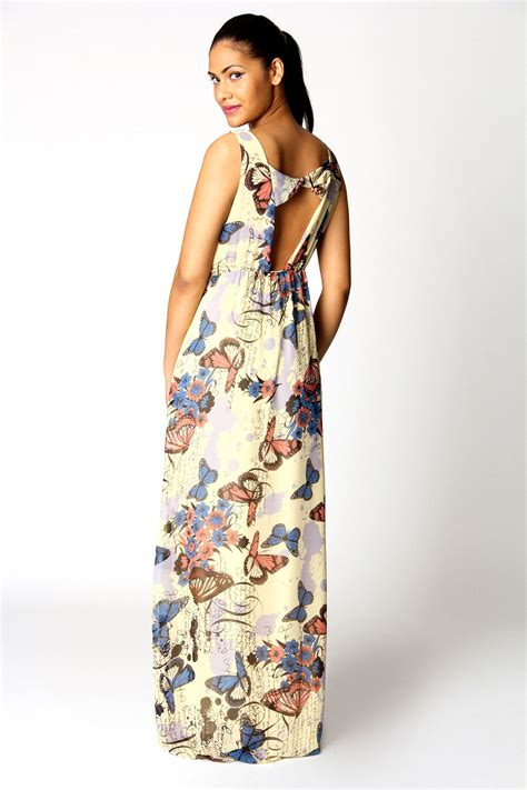 Buterfly Maxi boohoo tessa bow back butterfly print maxi dress in lemon ebay