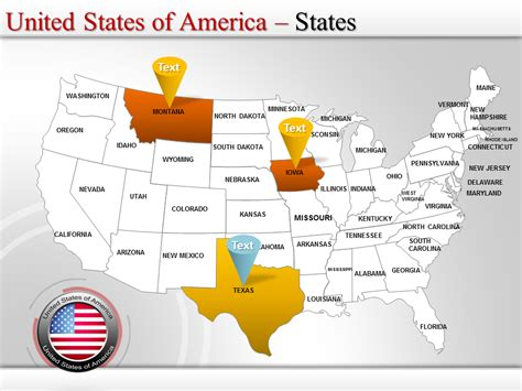 Us Map Template Powerpoint Map Of Usa Editable Map Of Usa Powerpoint Us Map Template Free