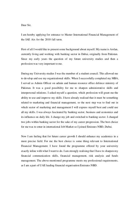 Motivation Letter Finance Master Sle Motivation Letter