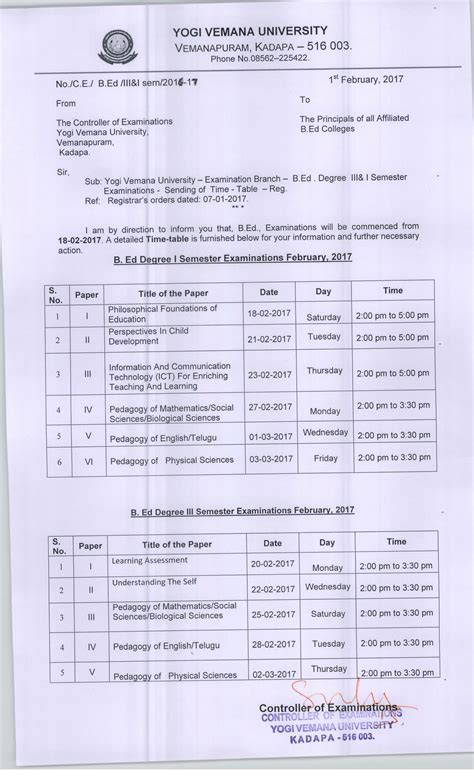 Ou Mba 3rd Sem Result 2017 by Yvu B Ed Time Table 2017 1st 3rd Semester