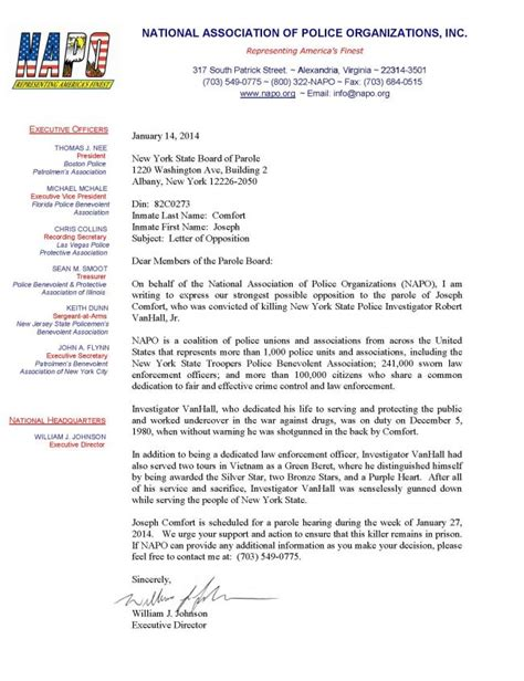 Support Letter For Inmate Sle National Association Of Organizations Napo Opposition To Parole Of Joseph Comfort