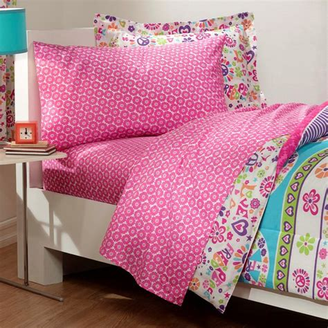 peace comforter retro pink blue peace sign love girls bedding twin