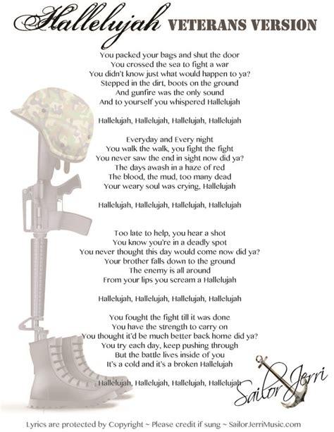 printable lyrics to hallelujah hallelujah lyrics written by veteran 4th of july