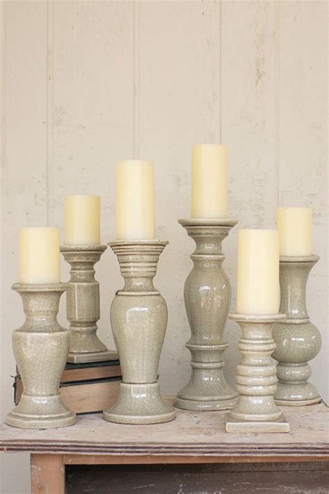 Grey Candlestick Holders Set Of 6 Grey Ceramic Candle Holders