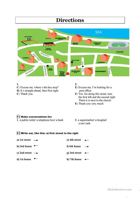 giving directions printable exercises 69 free esl giving directions worksheets