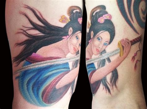 samurai tattoo with geisha asian samurai geisha tattoo design tattooshunt com