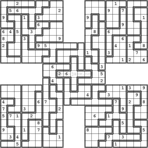 printable sudoku puzzles com samurai jigsaw samurai sudoku puzzles pinterest