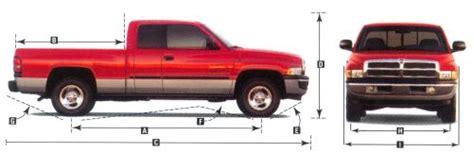 standard truck bed size 2001 dodge ram pickup dimensions