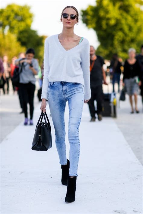 popular jean styles 2015 cropped sweater best street style from paris fashion