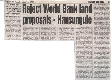 world bank 2007 zambia conservation reject world bank land proposals
